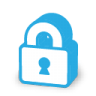 Blue admin settings padlock icon