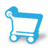 Blue shopping cart inventory management icon